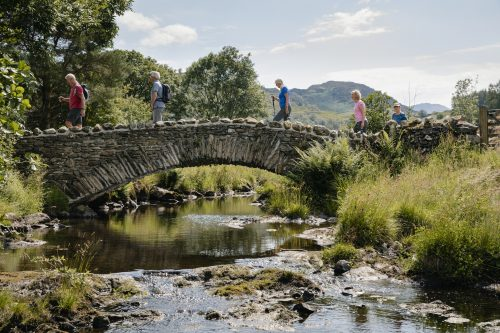 Senior Friends Crossing Stone Bridge!