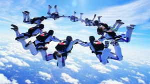 free fall with parachute